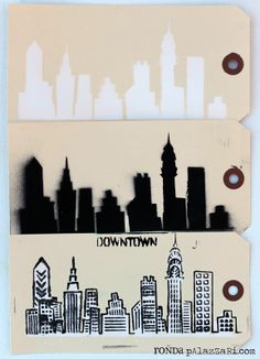 Urban Landscape stencil by Ronda Palazzari for The Crafter's Workshop http://rondapalazzari.typepad.com/ http://www.thecraftersworkshop.com/The_Crafters_Workshop/Home.html