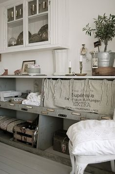 linen, wood, tin.