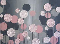 Arte de la pared de los cabritos rosado y gris con textura de