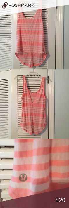Lululemon cropped tank Pink and white striped burn out fabric. Loose fit. Can be worn with V in front or scoop in front. lululemon athletica Tops Crop Tops