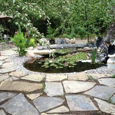 Flagstone patio with pond