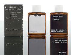 Saffron Amber Agarwood Cardamom Korres cologne - a fragrance for men 2009 Skincare Packaging, Perfume Packaging, Bottle Packaging, Cosmetic Packaging, Beauty Packaging, Print Packaging, Simple Packaging, Monospace, First Perfume