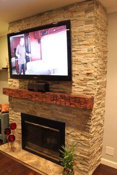 Stone Fireplace With Wrap Around Barn Beam Mantel House In 2019 Basement Fireplace Brick Fireplace Wall Fireplace Mantels