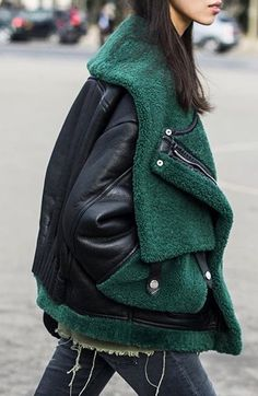 Leather and green jacket