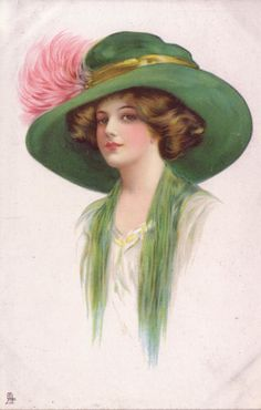 Full Sized Image: lady facing centre-left with cream dress, green throw & hat, pink feathers in hat band Moda Vintage, Vintage Diy, Vintage Ephemera, Vintage Girls, Vintage Postcards, Images Vintage, Vintage Pictures, Victorian Women, Victorian Art