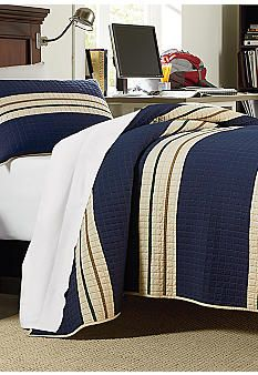 Home Accents® Rugby Stripe Quilt for the guest bedroom....how would the burlap fish pillow look?