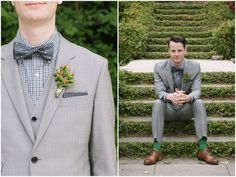 oh so stylish groom in a grey suit + checked shirt + grey and white polka dot tie