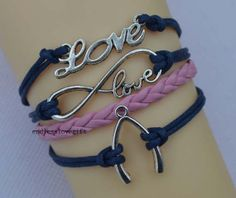 Infinity bracelet charm bracelet love wish bone by endlesslovegift, $5.75