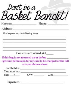 Basket party contract. Very smart!