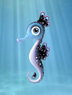 Seahorse Illustration By Heidy Curbelo Seahorse Tattoo, 3d Cartoon, Cute Illustration, Illustrations, Design Art, Concept Art, Cool Art, Character Design, 3d Character