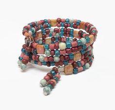 Turquoise and Pink Wrap Bracelet, Bohemian Style Wrap Bracelet, Boho Style Memory Wire Bracelet,  Southwest Style Beaded Bracelet