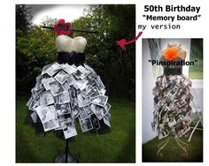 """""""Memory Board"""" created for my friends 50th birthday. Wire dress form, about 150 photo's photocopied in black and white on cardstock, pinned to tulle skirt with mini silver binder clips. I fell in love with the """"pinspiration"""" and wanted to try and recreate it for her special day."""