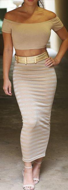 Metallic Striped Skirt