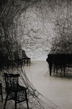 "Chiharu Shiota (b. ""In Silence,"" an installation at Art Basel… Bühnen Design, Instalation Art, Wow Art, Art Abstrait, To Infinity And Beyond, Japanese Artists, Art Plastique, Oeuvre D'art, Osaka"