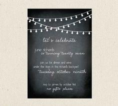 pretty black and white birthday invitation
