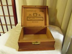 Reserve Listing Wooden Cigar Box from Nat Sherman It is 7 inches long, 6 inches wide and 3 inches high. Wooden Cigar Boxes, Wooden Storage Boxes, Cigars, Etsy, Vintage, Wood Storage Box, Vintage Comics, Smoke, Primitive