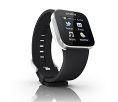 Sony SmartWatch    Stay on top of life with just a tap, touch or a swipe of the finger to the smooth touch screen face of the uniquely styled SmartWatch. Discretely check your text messages, emails, Facebook updates or just the time and look cooler than anyone else doing it.