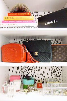27 Closet Organization Ideas to Copy | How to Organize + Design Your Closet | display your bags on a shelf