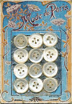 "(::)  Vintage ""Mode de Paris"" Button Card, French, Mother of Pearl, Art Nouveau.  Saved by DiaNNe to ""Vintage Button Cards (::)"""