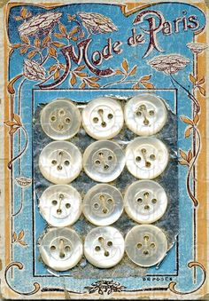 Button Card, French, Mother of Pearl, Art Nouveau, via Etsy.