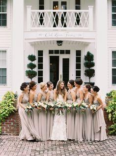Elegant neutral-hued bridesmaid gowns: http://www.stylemepretty.com/georgia-weddings/atlanta/2016/02/22/classic-southern-plantation-wedding-in-georgia/ | Photography: Simply Sarah - http://simplysarah.me/