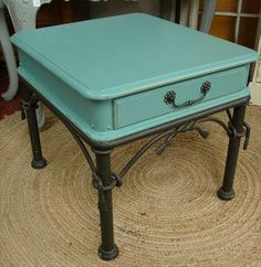 Upcycled Vintage Robin Egg Blue Painted Wrought Iron Accent Side Table ...570 x 585151.8KBwww.pinterest.com