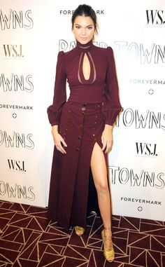 Kendall Jenner from The Best of the Red Carpet  Working the Pantone color of 2015, the model rocks a Victorian-inspired Zimmermann dress in a deep marsala hue.