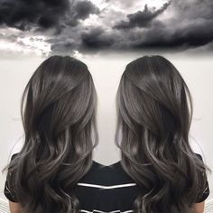 Smoky Charcoal Gray Hair Color by Janai Hartt hotonbeauty.com