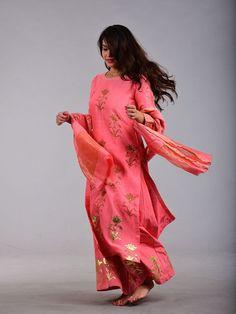 Pink Handblock Printed Chanderi Suit - Set of 3