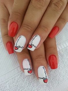 Pink French Tips with white free-hand hearts and decal words, Crystal accents, Valentine Nail Art Related Posts:french nail art designs of day nail art 2017 cuteadorable valentine's day nail art valentine nail designs 2016 Related Fancy Nails, Red Nails, Cute Nails, Pretty Nails, Nail Art Designs 2016, White Nail Designs, Valentine Nail Art, Holiday Nail Art, Valentine Hearts