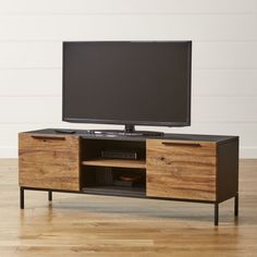 "Shop Rigby 55"" Small Media Console with Base.  The Rigby Small Media Console with Base is a Crate and Barrel exclusive."