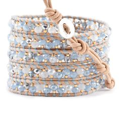 Periwinkle Mix and Gold Bead Wrap Bracelet on Beige Leather - Chan Luu