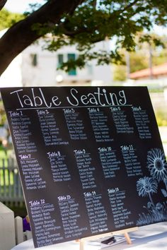 chalkboard table seating chart!