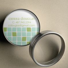 Cierra (Mod Cubes) - 50 CUSTOM Round Calling Cards/ Business Cards/ Tags in Tin by PoshGirlBoutique