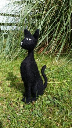Black Cat needle felted 3D sculpture by Furzie