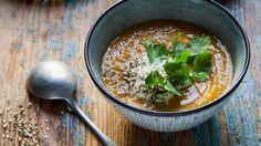 Pumpkin soup with dukkah