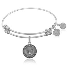Expandable Bangle in White Tone Brass with U.S.Air Force Proud Mom Symbol