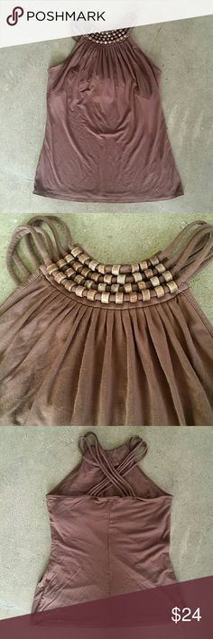 MICHAEL KORS Beaded brown Halter Sz small TTS Brown beaded halter Criss cross back  Preowned and gently worn. Very nice condition.   Bundle to save Michael Kors Tops Tank Tops