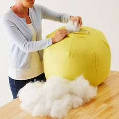 DIY Pouf Ottoman... we will just get LOTS of stuffing