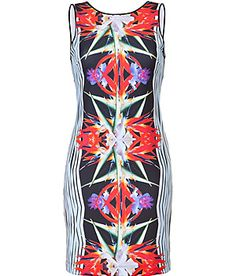 CLOVER CANYON  Ballad Blue and Black Floral Stretch Dress