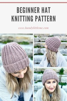 How to knit a hat - this free knitting pattern will show you how to create a ribbed beanie through step by step photographs and a video showing you how to seam the hat. This is a great beginner knitting pattern that is knit flat on straight needles. Beanie Knitting Patterns Free, Beanie Pattern Free, Baby Hats Knitting, Free Knitting, Knitted Hats, Beginner Knitting, Slouchy Beanie Pattern, Free Crochet, Crochet Patterns