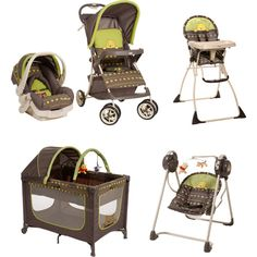 Winnie the Pooh Car Seat, Stroller, Highchair, Pack and Play Crib Set and Baby Swing