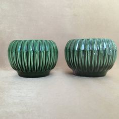 McCoy USA Planters Vintage Planters Green Ribbed by DotnBettys