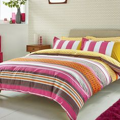 Scion Lace Stripe Coordinated Bedding Pink