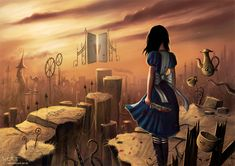 "Alice by Jeremiah Morelli - A fan-art to the game ""Alice - Madness Returns"" from Electronic Arts Alice Liddell, Alice Madness Returns, Lewis Carroll, Photomontage, Alice In Wonderland Drawings, Art Magique, Arte Nerd, Chesire Cat, Fan Art"
