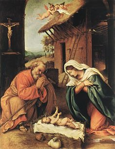 Along with Mary, he is depicted at Jesus' birth in this 16th-century painting by Lorenzo Lotto. Description from biblicalarchaeology.org. I searched for this on bing.com/images