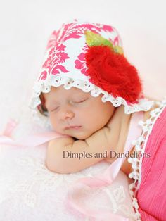 Precious photo from one of our customers in Frisco, Texas. Wiggy Studio baby bonnet. We proudly make all our items in the USA.