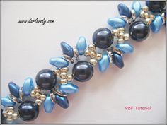 Beaded Bracelet Pattern Blue Pearl Wavy Superduo Bracelet