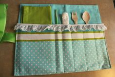 Picnic utensil roll-up - also good to pack in lunch bag for eating at work, but use silverware instead