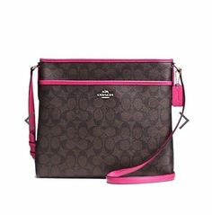 Coach Signature FILE BAG Crossbody Shoulder Purse Pink Ruby Brown  NWT 34938   | eBay